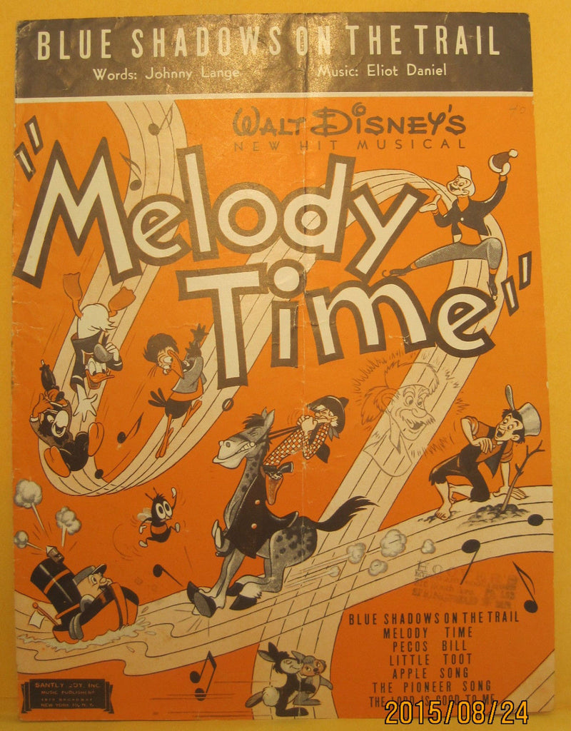 Blue Shadows on The Trail - 1948 Sheet Music from Disney's Melody Time