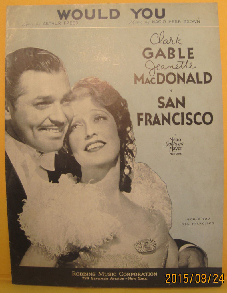 Would You - 1936 Sheet Music - Clark Gable