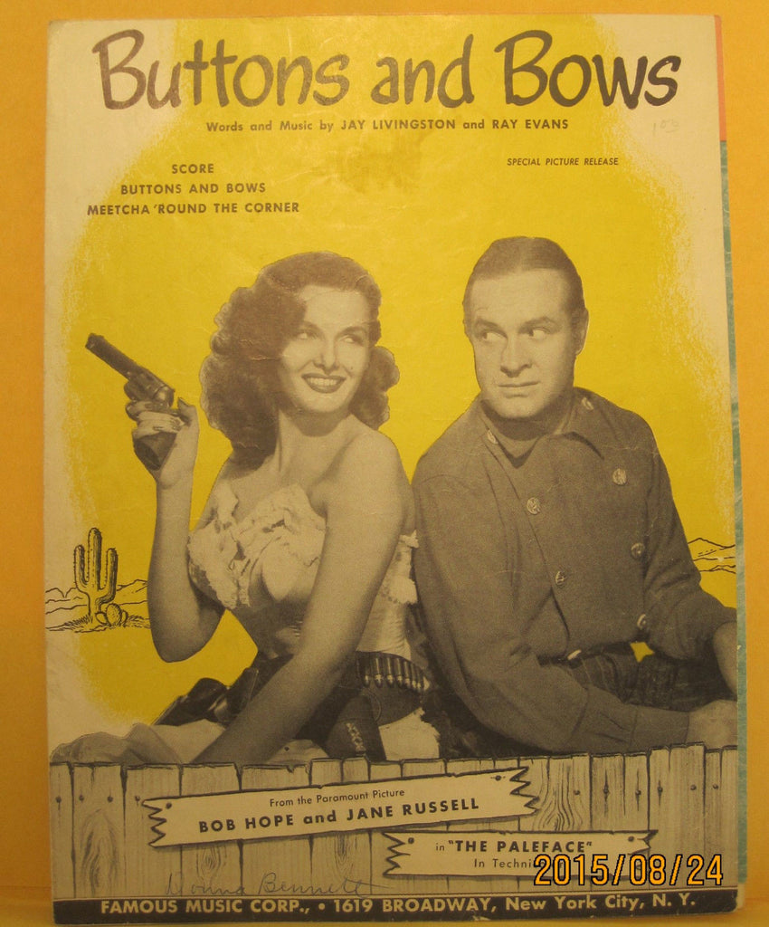 Buttons and Bows - 1948 Sheet Music - Bob Hope & Jane Russell