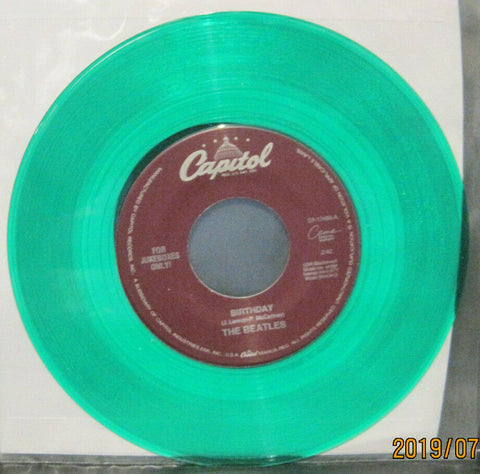BEATLES - Birthday / Taxman - Capitol Juke Boxes Only 45rpm on Green Vinyl NM