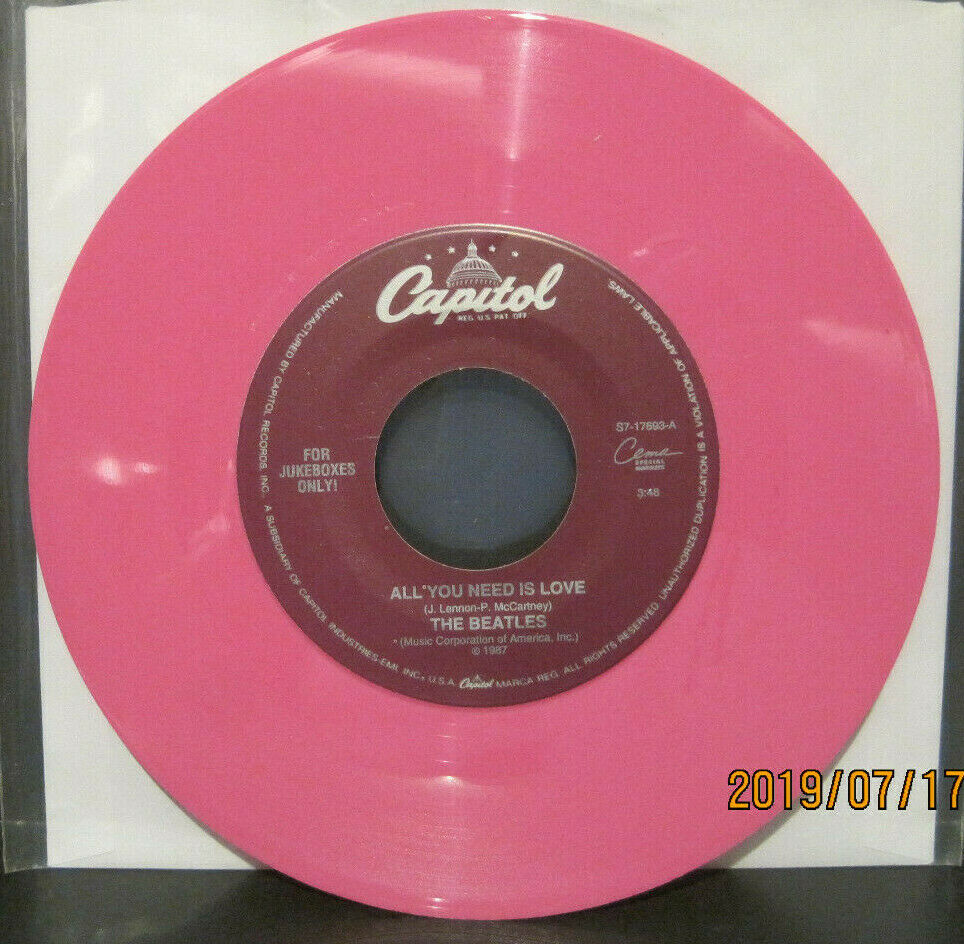 BEATLES - All You Need is Love / Baby You're a Rich Man - Capitol Juke Boxes Only 45rpm on Pink Vinyl NM