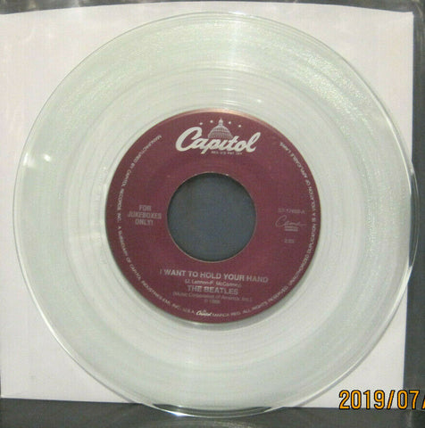 BEATLES - I Want To Hold your Hand / This Boy - Capitol Juke Boxes Only 45 on Clear Vinyl NM
