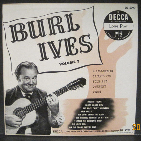 "BURL IVES A Collection of Ballads, Folk and Country Songs Volume 3 - 10"" Lp"