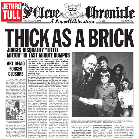 Jethro Tull - Thick As A Brick 180g LP booklet & DLC