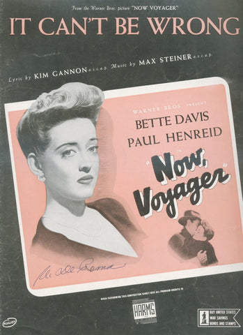 Bette Davis from Now, Voyager - 1942 SHEET MUSIC - great cover art!