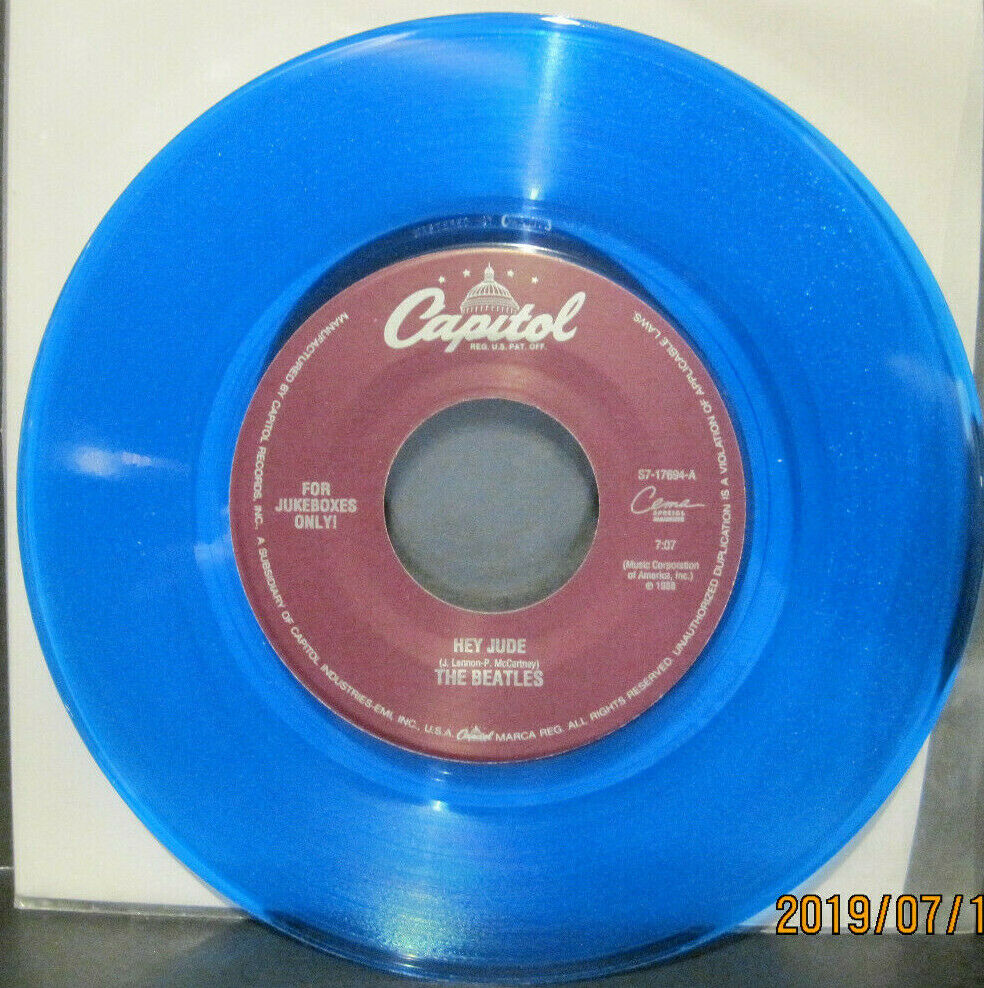 BEATLES - Hey Jude / Revolution - Capitol Juke Boxes Only 45rpm on Blue Vinyl NM