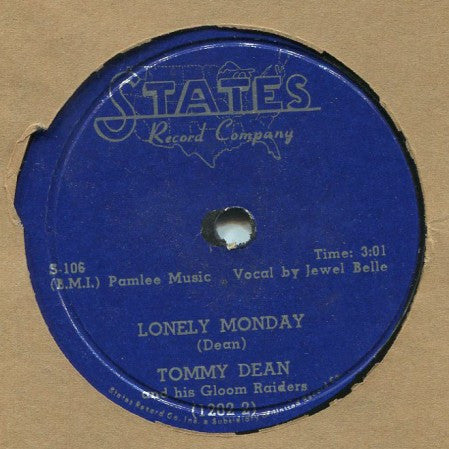 Tommy Dean - Lonely Monday/ Cool One-Groove Two