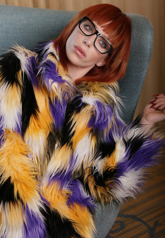 Tasha Tarno Multi Colored Faux Fur Jacket