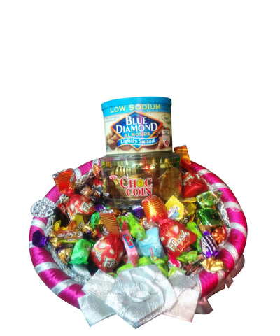 Raja Ji Blue Diamond Almonds, Choco Coin ,Gift Basket - 8001109