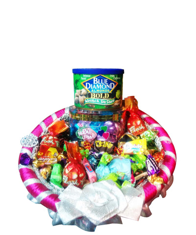 Raja Ji Blue Diamond Almonds With Candies Rakhi Gift Basket - 8001110