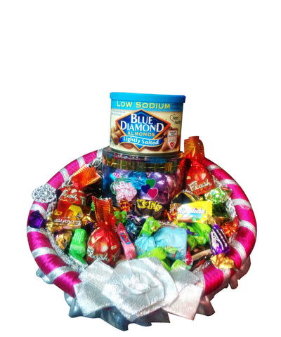 Raja Ji Blue Diamond Almonds, Noble Time Candies Gift Basket - 8001111