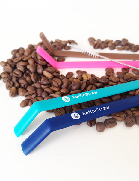"Reusable Koffie Straw 4-PACK: Mocha, Navy, Pink, Surf (all 10"") with brush (in home-compostable packaging)"
