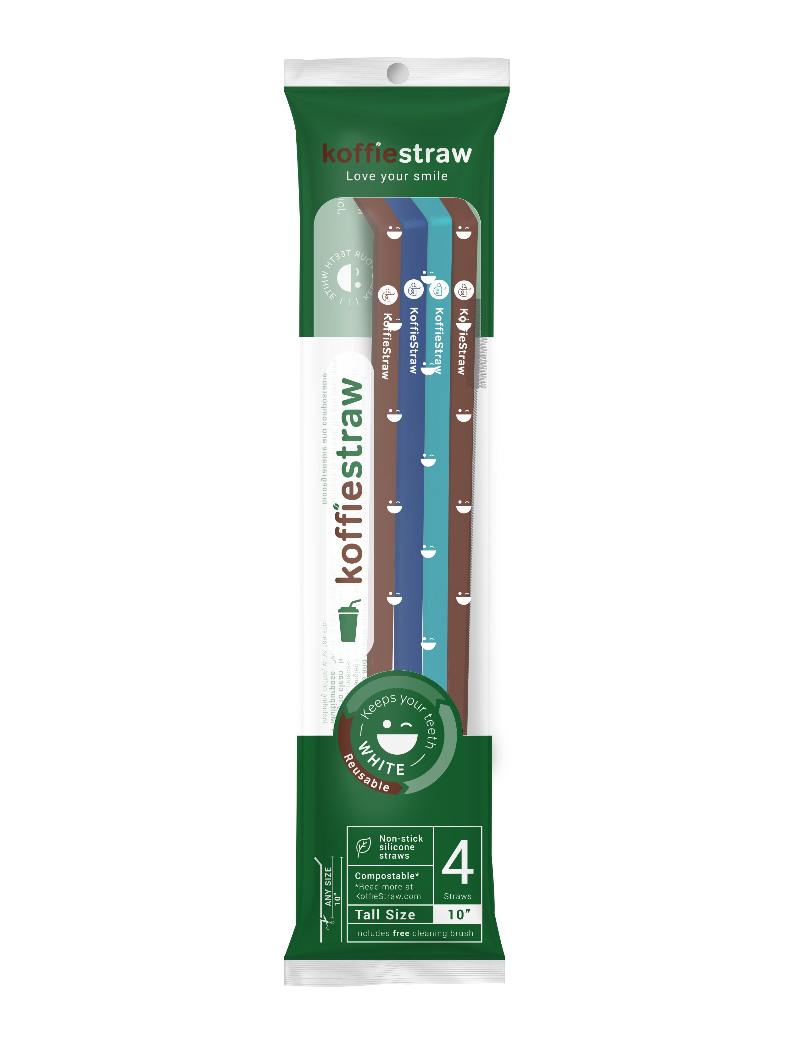 "Reusable Koffie Straw 4-PACK: Mocha, Navy, Surf, Mocha (all 10"") with brush (in compostable packaging)"