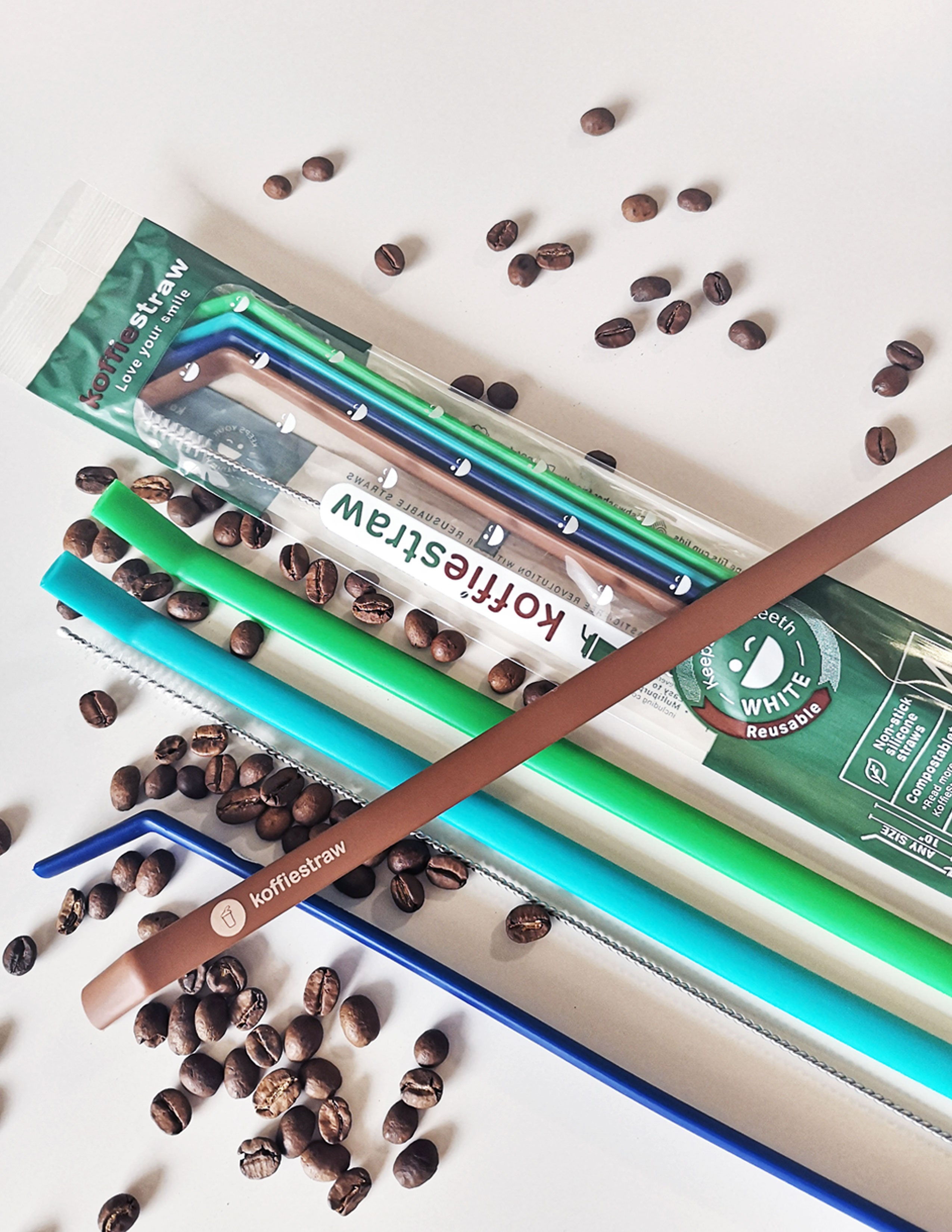 "Reusable Koffie Straw 4-PACK: Green, Mocha, Navy, Surf,  (all 10"") with brush (in compostable packaging)"