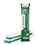 "Reusable Koffie Straw 2 PACK: Green 10"" + Green 8"" with brush (in home-compostable packaging)"
