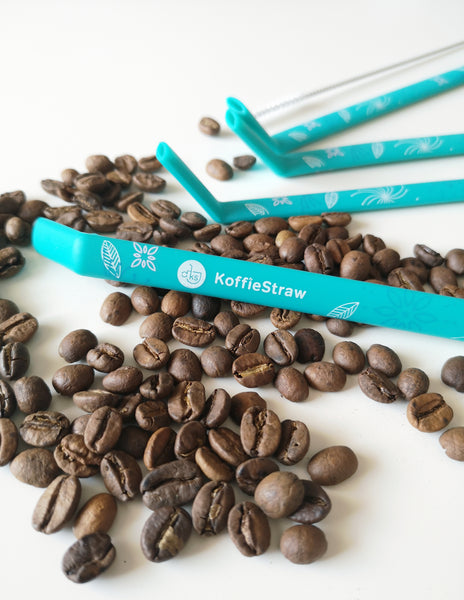 "Reusable Koffie Straw 4-PACK Collector Series: Surf-DECO (all 10"") with brush (in compostable packaging)"