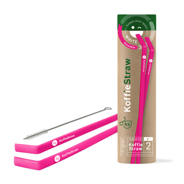 "GIFT TUBE set of: Koffie Straws (Hot Pink): 8"" each,  2 straws + 1 cleaning brush"