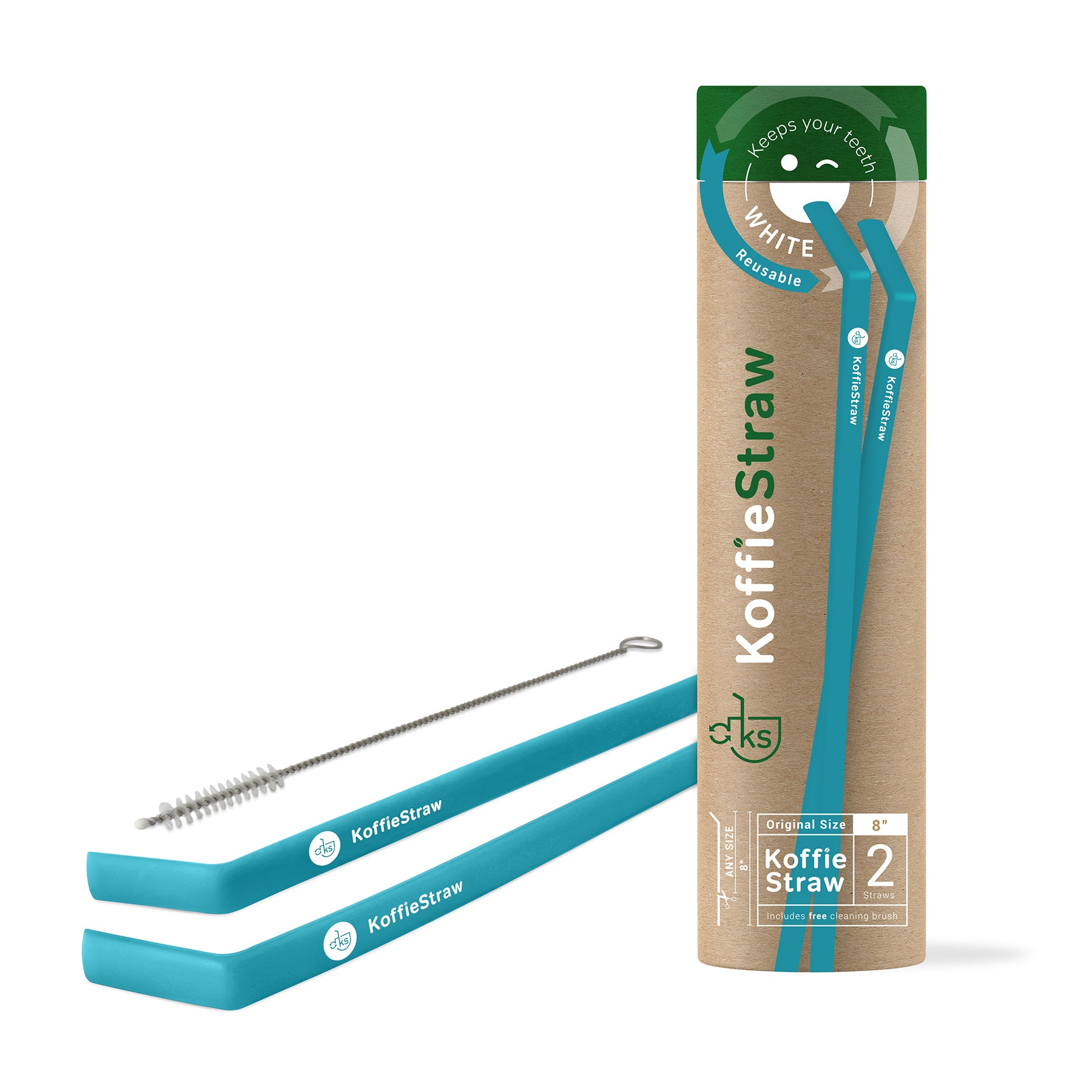 "GIFT TUBE set of: Koffie Straws (Surf blue): 8"" each,  2 straws + 1 cleaning brush"