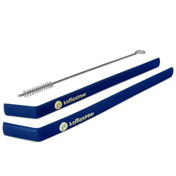"GIFT TUBE set of: Koffie Straws (Navy): 8"" each,  2 straws + 1 cleaning brush"