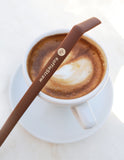 "Reusable Silicone Koffie Straw 2 PACK: Mocha 10"" + Mocha 8"" with brush (in home-compostable packaging)"