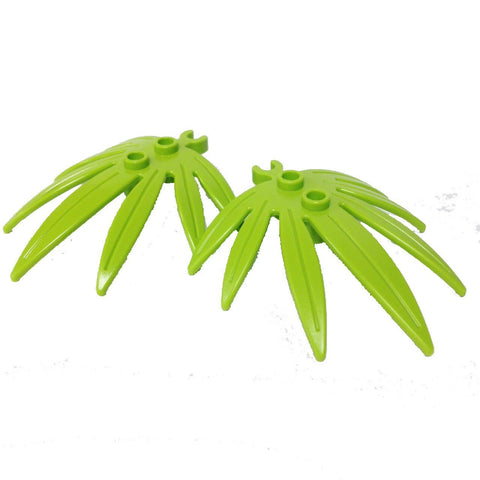 Lego Parts: Plant Leaves 6 x 5 Swordleaf with Clip (PACK of 2 - Lime Leaves)