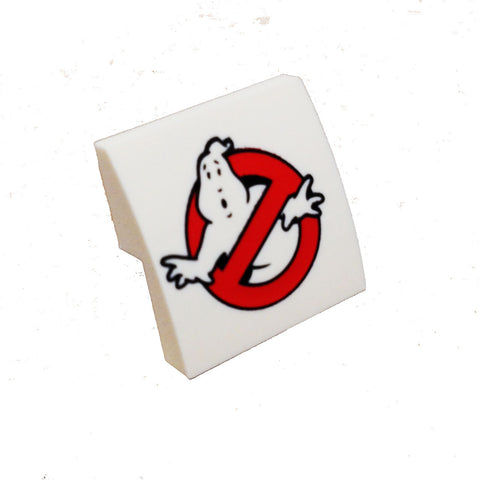 Lego Parts: Slope, Curved 2 x 2 No Studs with Ghostbusters Logo Pattern