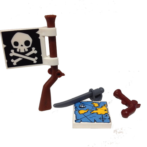 "MinifigurePacks: Lego® Pirate Accessory Bundle ""(1) FLINTLOCK MUSKET"" ""(1) JOLLY ROGER FLAG"" ""(1) CUTLASS SWORD"" ""(1) MAGELLAN's MAP"""