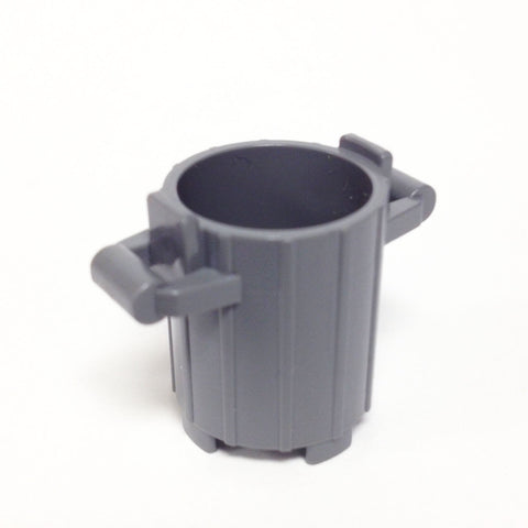 Lego Parts: Trash Can Container with 2 Cover Holder Tabs (DBGray)