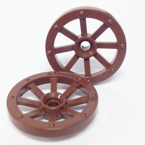 Lego Parts: Wagon Wheel - Small 27mm Diameter (PACK of 2 - Brown)