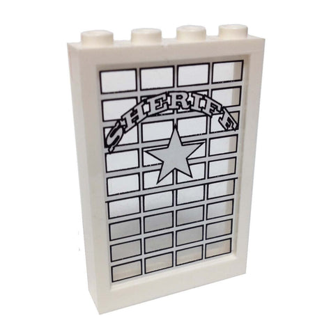 Lego Parts: Window 1 x 4 x 5 with Trans-Clear Glass with Sheriff Pattern (Sticker) - From Sets 6755 & 6764