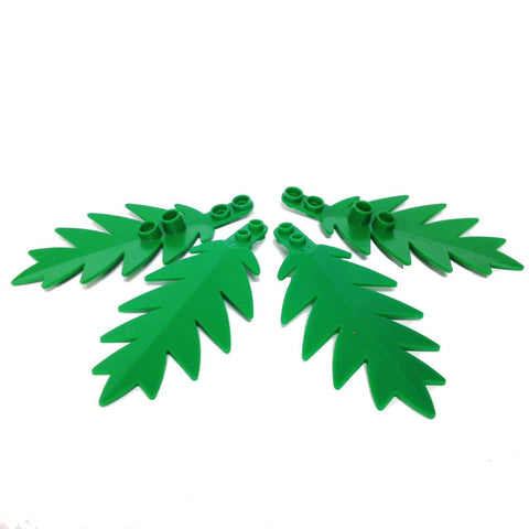 Lego Parts: Plant, Tree Palm Leaf Large 10 x 5 (PACK of 4 - Green Leaves)
