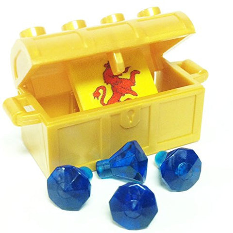 Lego Parts: Treasure Chest/Jewel Pack Bundle (4) 24 Facet Dark Blue Jewels, (1) Pearl Gold Treasure Chest, (1) Coat of Arms Tile