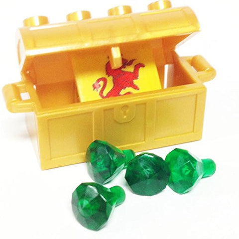 Lego Parts: Treasure Chest/Jewel Pack Bundle (4) 24 Facet Green Jewels, (1) Pearl Gold Treasure Chest, (1) Coat of Arms Tile