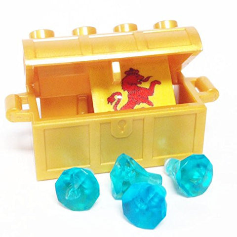 Lego Parts: Treasure Chest/Jewel Pack Bundle (4) 24 Facet Light Blue Jewels, (1) Pearl Gold Treasure Chest, (1) Coat of Arms Tile