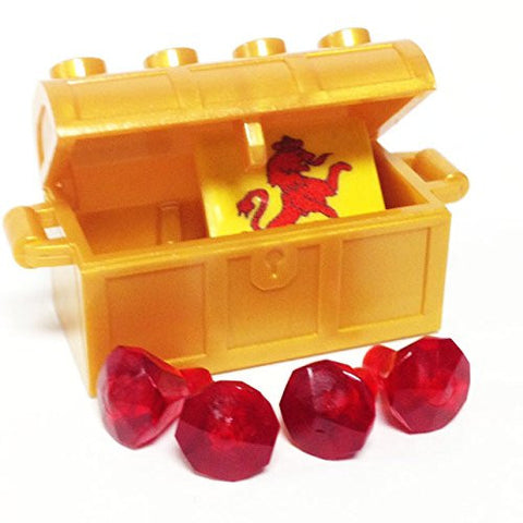 Lego Parts: Treasure Chest/Jewel Pack Bundle (4) 24 Facet Red Jewels, (1) Pearl Gold Treasure Chest, (1) Coat of Arms Tile