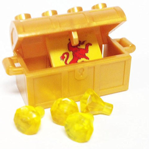 Lego Parts: Treasure Chest/Jewel Pack Bundle (4) 24 Facet Yellow Jewels, (1) Pearl Gold Treasure Chest, (1) Coat of Arms Tile