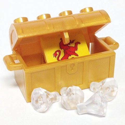 Lego Parts: Treasure Chest/Jewel Pack Bundle (4) 24 Facet Clear Jewels, (1) Pearl Gold Treasure Chest, (1) Coat of Arms Tile