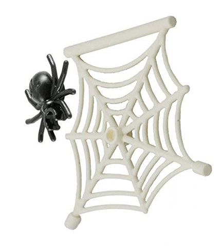 Lego Parts: Creepy Crawly Bundle Pack (1) White Hanging Spider Web & (1) Spider