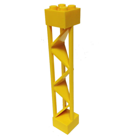 Lego Parts: Support 2 x 2 x 10 Girder Triangular Vertical - Type 1 - Solid Top, 3 Posts (Yellow)