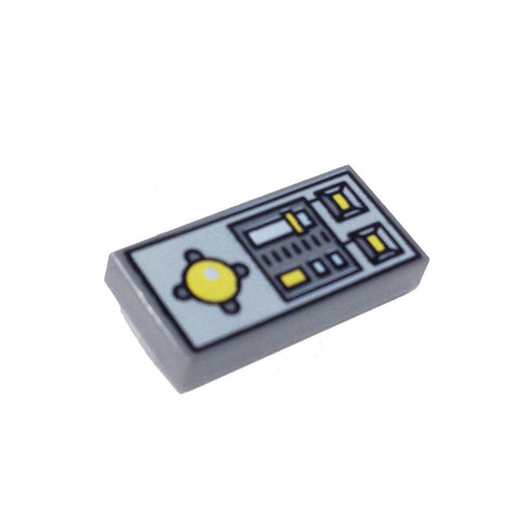 Lego Parts: Tile, Decorated 1 x 2 with Vehicle Control Panel Pattern (DBGray)