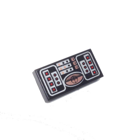 Lego Parts: Tile, Decorated 1 x 2 with STAR WARS (Avionics - Copper, Red & Silver Pattern)