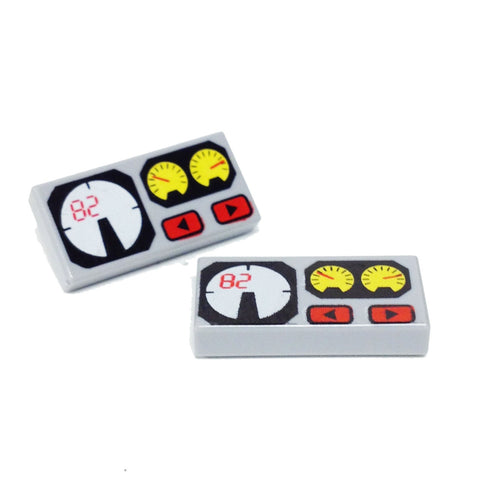 Lego Parts: Tile, Decorated 1 x 2 with Universal (PACK of 2 - Red 82, Yellow and White Gauges Pattern)
