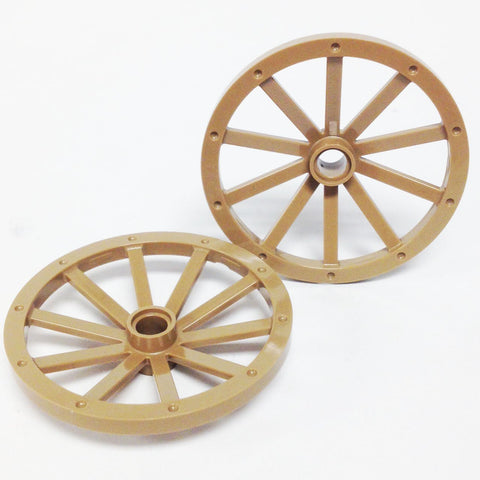 Lego Parts: Wagon Wheel - Huge 43mm Diameter (PACK of 2 - Dark Tan)