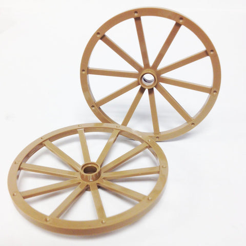 Lego Parts: Wagon Wheel - Giant 56mm Diameter (PACK of 2 - Dark Tan)