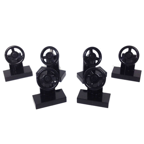 Lego Parts: Vehicle, Steering Stand 1 x 2 with Black Steering Wheel (PACK of 6 - Black)