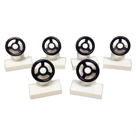 Lego Parts: Vehicle, Steering Stand 1 x 2 with Black Steering Wheel (PACK of 6 - White)