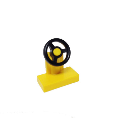 Lego Parts: Vehicle, Steering Stand 1 x 2 with Black Steering Wheel (Yellow)