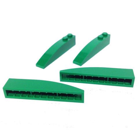 Lego Parts: Slope, Curved 6 x 1 (PACK of 4 - Green)