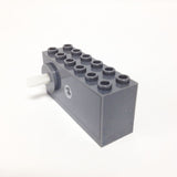Lego Parts: Wind-Up Motor 2 x 6 x 2 1/3 with Raised Shaft Base - Long Axle (Dark Gray)