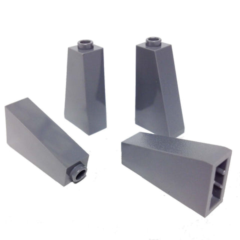 Lego Parts: Slope 75° 2 x 1 x 3 - Hollow Stud (PACK of 4 - DBGray)